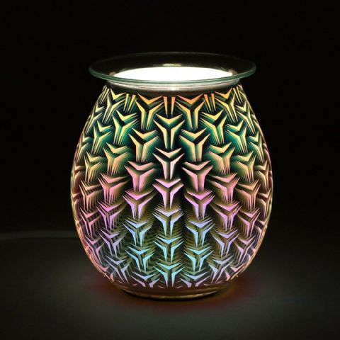Geometric Pattern Light Up Electric Oil Wax Melts Burner 40838